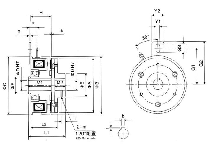 铝导座内轴承电磁离合器尺寸图